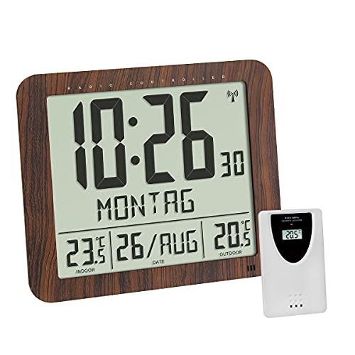 TFA Dostmann Radiowy zegar ścienny o wyglądzie drewna, 60.4518.08, z nadajnikiem zewnętrznym, temperatura wewnątrz i na zewnątrz, dobrze czytelny, z datą i dniem tygodnia, brązowy