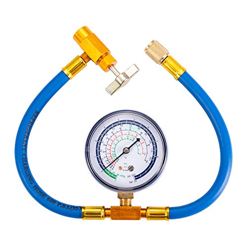 R134a Charging Hose to Fridge - Can Tap with Gauge Recharging Hose Kit Connect Can of R134a, R-12/R-22 Refrigerant Port for Home Use Refrigerator A/C System