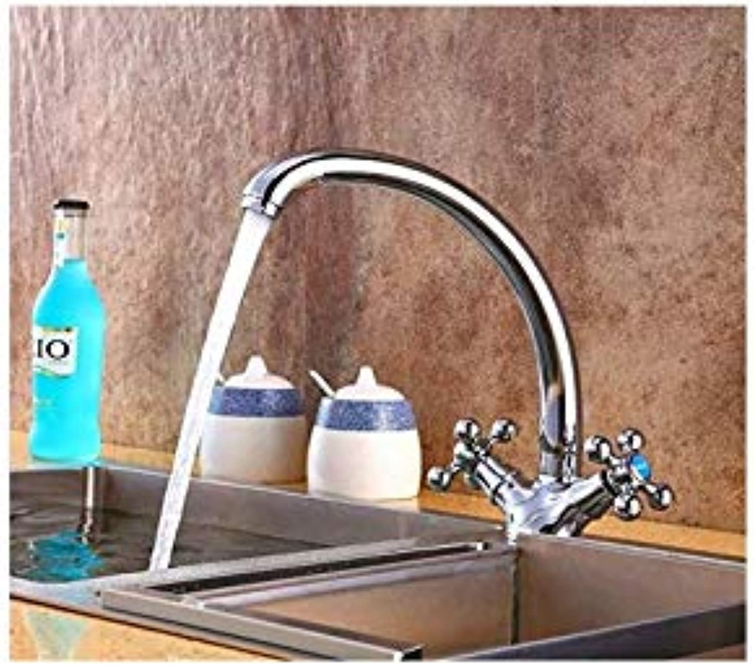 Kitchen Faucets Double Handle Solid Kitchen Mixer Cold and Hot Flexible Kitchen Tap Single Lever Hole Water Tap Kitchen Faucet