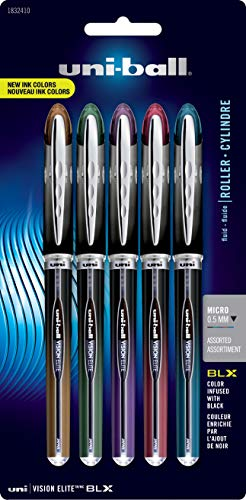 uni-ball Vision Elite BLX Infusion Rollerball Pens, Micro Point (0.5mm), Assorted Colors, 5 Count
