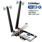 Hommie Carte Réseau Wi-FI avec Bluetooth 4.2 Adaptateur PCI Express Double Bande 5GHz sans Fil Intel 7265 AC 1200Mbps Carte...
