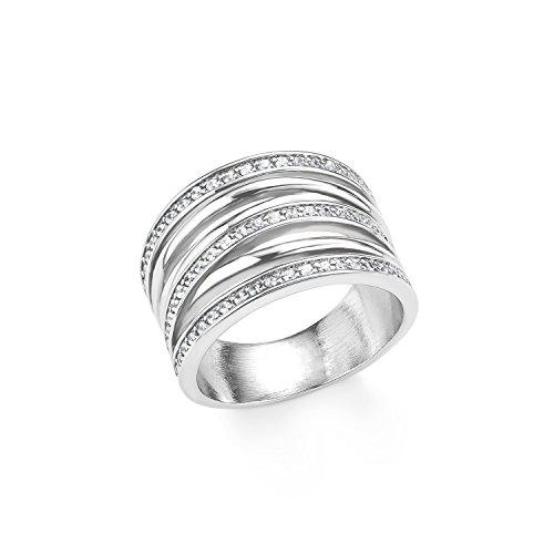 s.Oliver Damen-Ring 15 mm Edelstahl Zirkonia weiß Gr. 60 (19.1) 2015155
