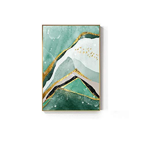 Nordische grüne Goldfolie Malfolie großes Plakat moderne Wandkunst Wohnzimmer Leinwand Kunst Luxussalon