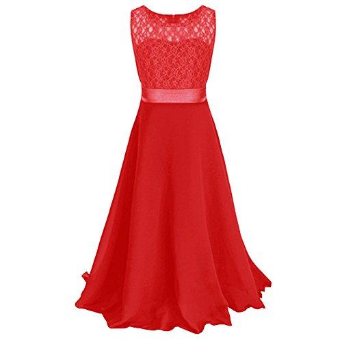 LSERVER-Ragazze Pizzo Vestito Lungo Bambina Elegante Principessa Abito Chiffon Fiore Garza Abiti da Sera Matrimonio Cerimonia