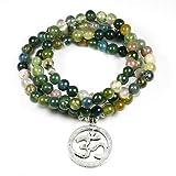 XKMY Pulsera de cuentas para mujer, ónice indio de 108 cuentas de Mala, pulsera de múltiples capas, con encanto de loto para yoga, para hombres, Buda, color metálico: 1
