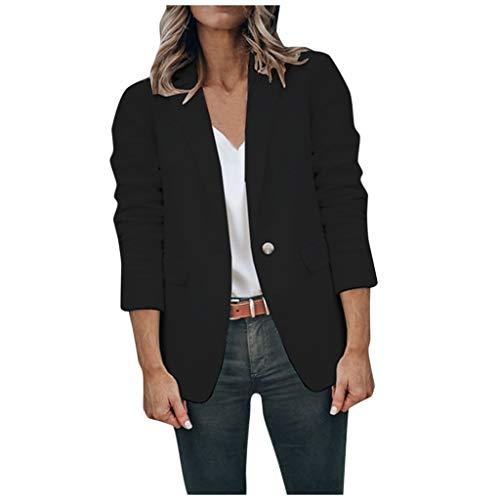 KPILP Damen Blazer Anzugjacke Elegant Einfarbig Cardigan Slim Fit Anzug Trenchcoat Herbst Winter Modisch Langärmeliger Umlegekragen Business Jacke mit Knöpfe