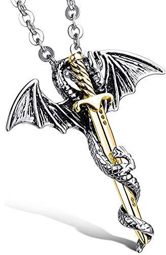 Edelstahl Ketten mit Drache und Schwert Anhänger Halsketten Herren Schmuck Kette Herren Silber und Gold (Silber und Gold)