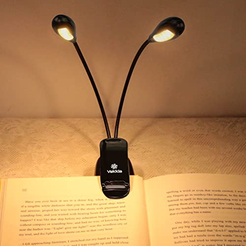 Vekkia 12 LED Rechargeable Warm Book Light/Music Stand Light, Clip On Reading Light in Bed, Eye...