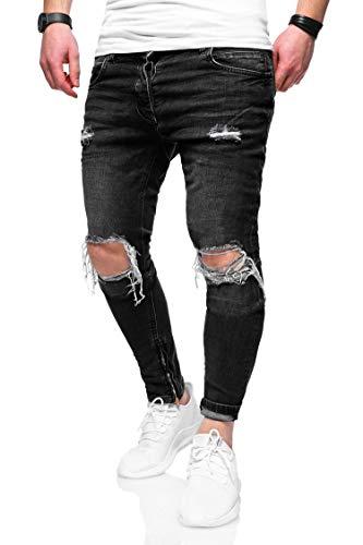 behype. Herren Destroyed Jeans-Hose Slim-Fit 80-3299 Dunkelgrau W29/L32