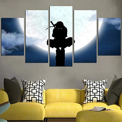 Yywife Bilder XXL 5 Teile wandbild leinwandbilder Kunstdrucke Naruto Ninja Itachi und Mond XXL 5 Teiliges Wandbild Mit Rahmen Größe 150x80CM Leinwandbild Wandbilder Cadeau d'Halloween