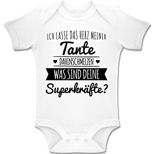 Shirtracer Sprüche Baby - Tante Herz dahinschmelzen - 1/3 Monate - Weiß - BZ10 - Baby Body Kurzarm für Jungen und Mädchen