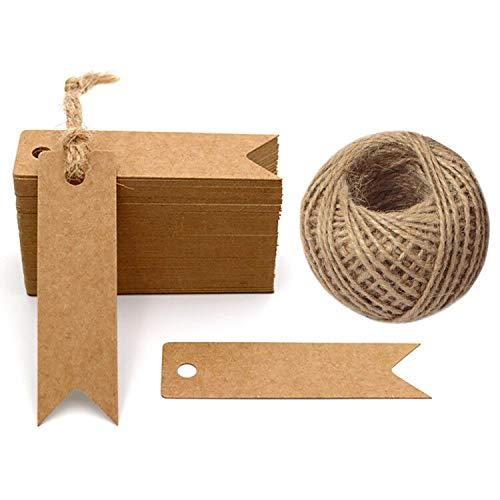 G2PLUS 100Stk. Kraftpapier Etiketten Tags 7 cm * 2 cm Geschenkanhänger Anhänger Etiketten mit Jute-Schnur 30 Meter (Braun)