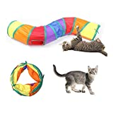 Andiker Cat Tunnel, S-Shape Cat Tunnel Pet Tube Collapsible Play Toy Indoor Outdoor