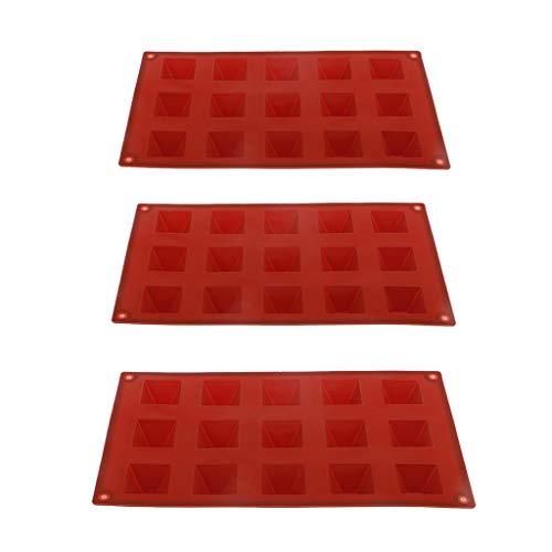 SDENSHI 3 Molde de Silicona de Pirámide de 15 Cavidades para Decoración de Chocolate, Bandeja de Hielo Hecha a Mano para Tartas, 3 Bricolaje