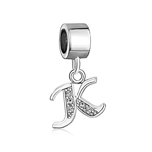 Sug Jasmin Dangle Initial K Letter Charm Clear Crystal Alphabet Beads for Bracelets