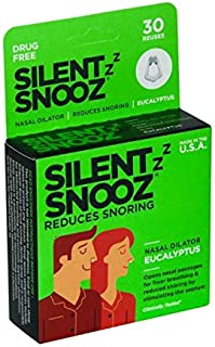 Silent SNOOZ Nasal Dilator Anti-Snore Device - Reusable Eucalyptus Scented Nose Vent Designed to Stop Snoring (30 Uses)
