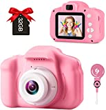 GKTZ Toys for Girls Age 3-10, Kids Camera 12MP Video Camcorder Toys for Toddler, Birthday for 3 4 5 6 7 8 Year Old Girls with 32GB SD Card - Pink
