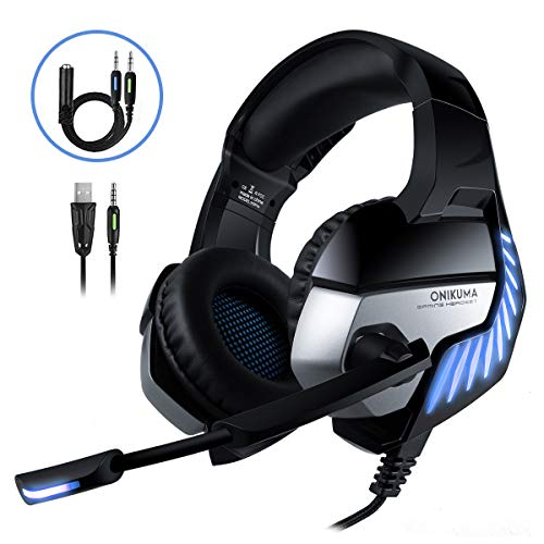 CHEREEKI Cascos Gaming Cascos para Juegos PS4, PC, Xbox One Auriculares Gaming Estéreo Ajustable Gaming con Micrófono y Control de Volumen, Bass Surround y Cancelación de Ruido (Bleu)