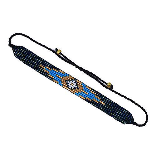 C·QUAN CHI Bracelets à Breloques Arc-en-Ciel pour Femmes Bracelet réglable tressé à la Main Bracelets d'amitié bohème Bracelet 2Pcs Bijoux à Breloques pour Femmes