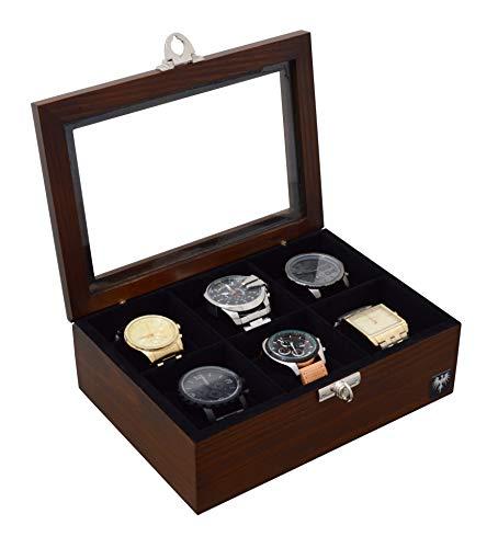 Porta-Relógios Total Luxo Madeira Maciça 6 Divisórias