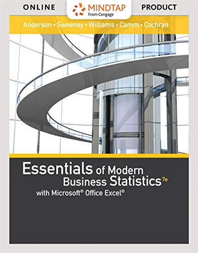 MindTap Business Statistics, 1 term (6 months) Printed Access Card for Anderson/Sweeney/Williams' Essentials of Modern B