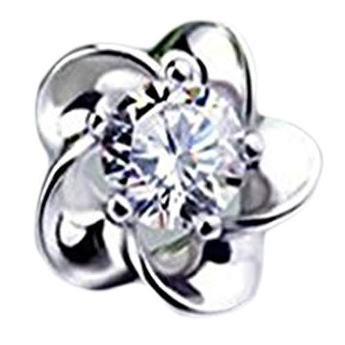 Pendientes de plata de ley con diamante de ciruela.