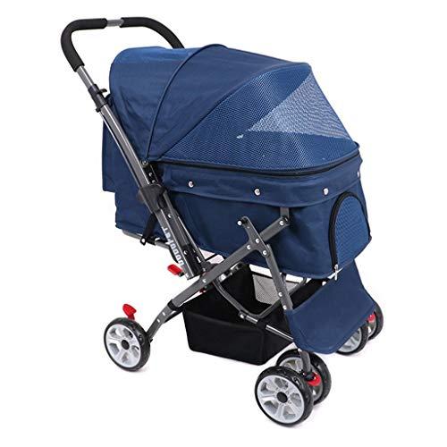MZP Pet Stroller hondenwagen hondenmand buggy en wagen voor honden katten Pet Stroller met regenbescherming en boodschappentas gemaakt van staal + 600D pvc-doek voor maximaal gewicht 25 kg blauw