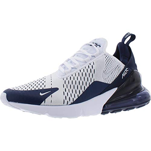 Nike Mens Air Max 270 Running Shoes (10.5) White/Midnight Navy