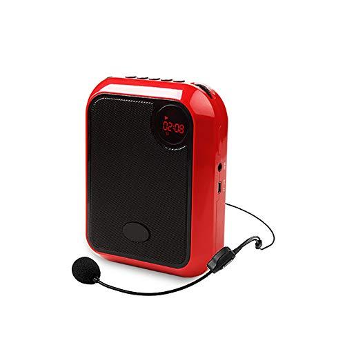 JKGHK Amplificador de Voz Auriculares con micrófono inalámbrico 10W 2200mAh Altavoz portátil para aulas, reuniones, promociones,Rojo