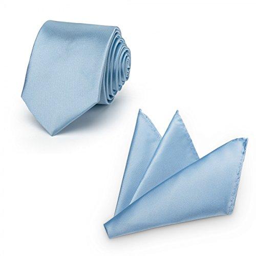 Rusty Bob - Krawatte mit Einstecktuch (in vielen Farben) - für die Verlobung, die Hochzeit - Schlips mit Taschentuch für das Sakko - 2er-Set - Hellblau