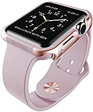 X-Doria 38mm Apple Watch Case (Defense Edge) Premium Aluminum and TPU Bumper Frame (Rose Gold & Lavender)