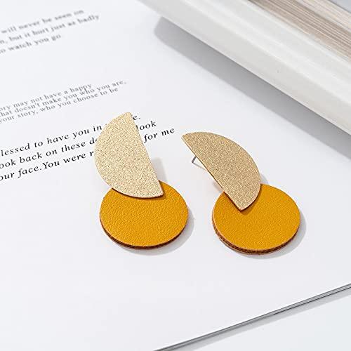 DFDLNL Regalos Pendientes Primavera Verano Amarillo Cuero Bohemia Pendientes de botón Bling Color Dorado Accesorio Regalo Mujer