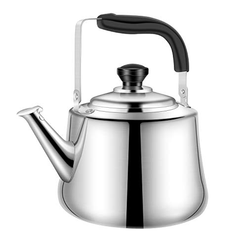 Whistling Tea Kettle Stainless Steel Teapot, 2.5-Liter Teakettle for Stovetop Induction Stove Top, Fast Boiling Heat Water Tea Pot 2.64-Quart