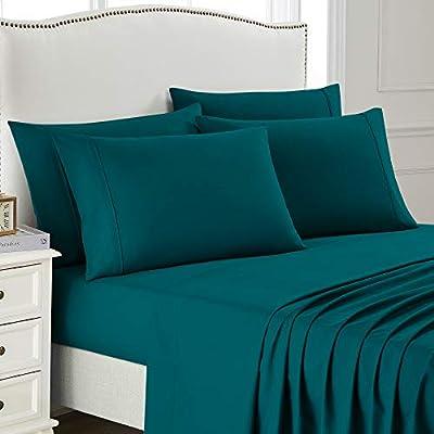 Queen Bed Sheet Set, 6 PC Super Soft Microfiber Bedding Set, Wrinkle & Fade Resistant Sheet Set, Hotel Quality Fits Mattress Up to 14'' Deep Pocket, Teal