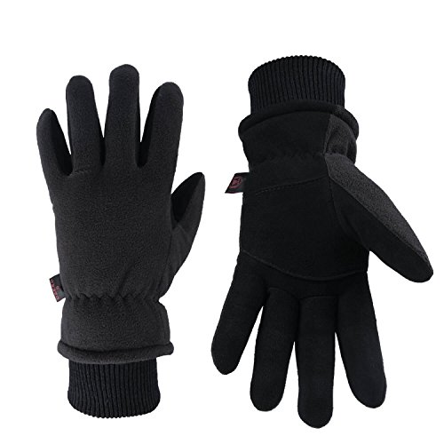 OZERO Thermal Gloves Coldproof Winter Ski Glove - Deerskin Leather Palm & Polar Fleece Back with Insulated Cotton - Windproof Water-resistant Warm hands in Cold Weather for Women Men - Denim(XL)