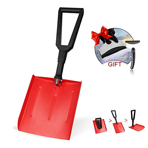 IPSXP Snow Shovel Folding Emergency Snow Shovel with DHandle and Aluminum Rugged Compact Tool for Car Snowmobiles or ATV –Winter Survival Gear for Camping  Collapsible Multifunctional  Red