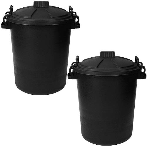 Srendi 2 x BLACK 50L Litre Heavy Duty Plastic Bin Rubbish Waste Dustbin Home Garden Outdoor Animal Feed Storage Unit Clip on Locking Lid - Made In U.K.