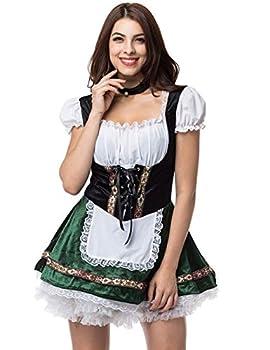 GRACIN Womens Oktoberfest Costume Halloween German Bavarian Beer Maid Costumes Dress Dirndl  Large Green