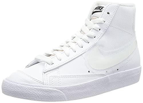 Nike Wmns Blazer Mid '77, Zapatillas de bsquetbol Mujer, White White White Black, 42 EU