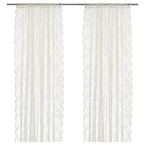 IKEA-ALVINE SPETS Paar Vorhänge, 2Felder, weiß Sheer Vorhänge