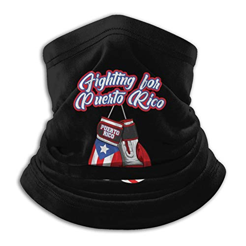 Fighting for Puerto Rico Boxing Gloves Flag Neck Gaiter Tube Mask Headwear, Motorcycle Face-Mask Face Scarf, Balaclava Black
