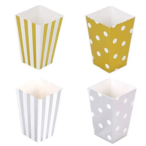 BANGBANGSHOP 48 Zilver Goud Polka stip Streep Klein Papier Popcorn Behandel Dozen Kopjes Emmers Kids Verjaardag Party Favours Geschenkdoos Snoepjes Voedsel Snacks Houders Container Gold & Silver
