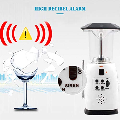 Portable 8 LED Camping Lantern,Solar Rechargeable Lantern,Hand Crank Emergency Flashlight with AM/FM Radio for Camping, Storm, Power Outage