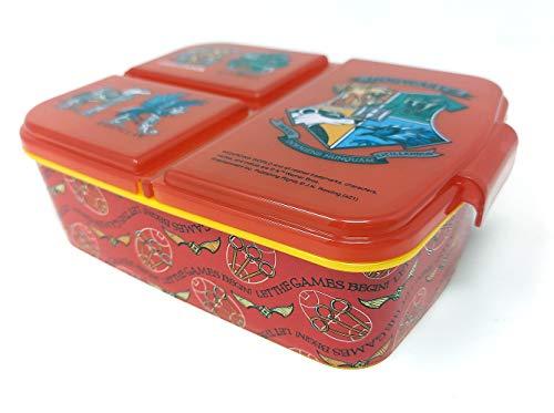 Brotdose Harry Potter Kids Lunchbox mit 3 Fächern, Bento Brotbox für Kinder - ideal für Schule, Kindergarten oder Freizeit