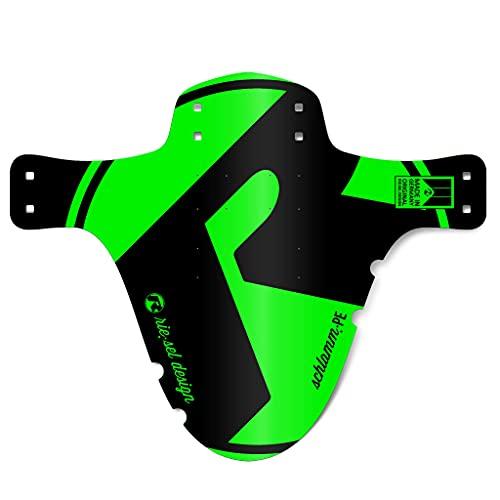 Riesel Design-1 Schlamm:PE-Green-4 Kabelbinder+2 Sticker-Fahrradschutzblech für vorn-Spritzschutz-Einheitsgröße-Mountainbike-Mud guard-Mtb-26-29 Zoll