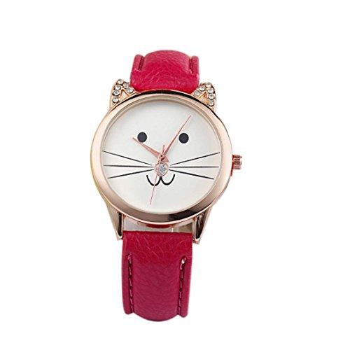 Sannysis® Diamante di modo Lovely Cats Viso Ecopelle orologio al quarzo (Rosso)