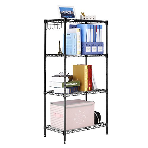 LANGRIA 4-Shelf All-Metal Shelving Unit, Modern Storage Organisation Rack with 5 Side Hooks, Adjustable Levelling Feet, Capacity 100 kg, Dimensions 60 x 35 x 120 cm, Black