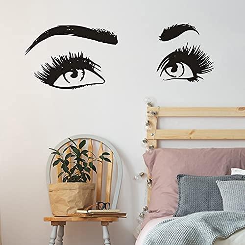 DOUMAISHOP Extensions De Cils Vinyle Autocollant Mural Beauté Yeux Lahses Vinyle Autocollant Cosmétique Décoration Murale Cils Et Sourcils Maquillage Mur Az872