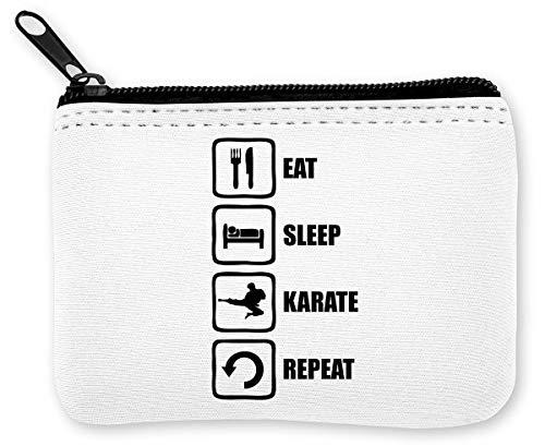 Eat Sleep Karate Repeat Martial Arts Graphic Münzen Reißverschluss Geldbörse