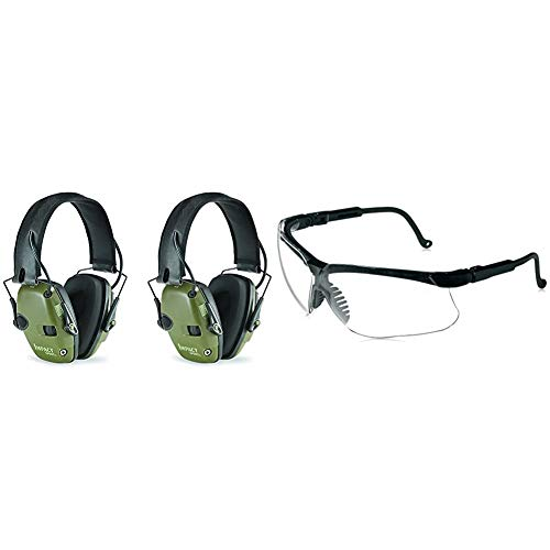 Howard Leight by Honeywell R-01526-PK2 2-Pack Impact Sport Sound Amplification Electronic Earmuff, Classic Green & Genesis Sharp-Shooter Shooting Glasses, Clear Lens (R-03570)